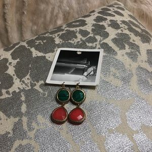 Anthropologie green and coral stone earrings